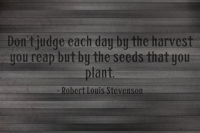 QotW - Robert Louis Stevenson (Don't judge each day by the harvest you reap but by the seeds that you plant)