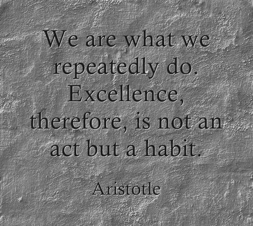 Quote of the Week - Aristotle (We are what we repeatedly do. Excelence, therefore, is not an act but a habit)